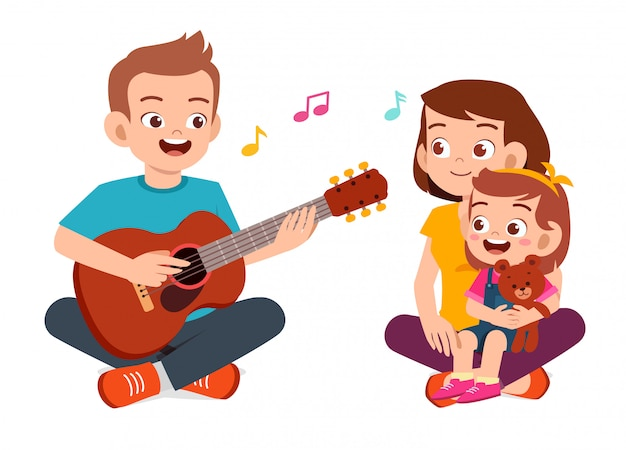 Happy cute family mom dad son daughter play guitar