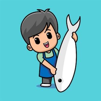 Счастливый милый рыбак показывает иллюстрацию шаржа большой рыбы