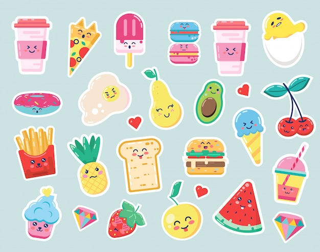 Happy cute food cartoon drink and fruit illustration for kids forest background with diamond and heart, pineapple. coffee, egg, strawberry. watermelon