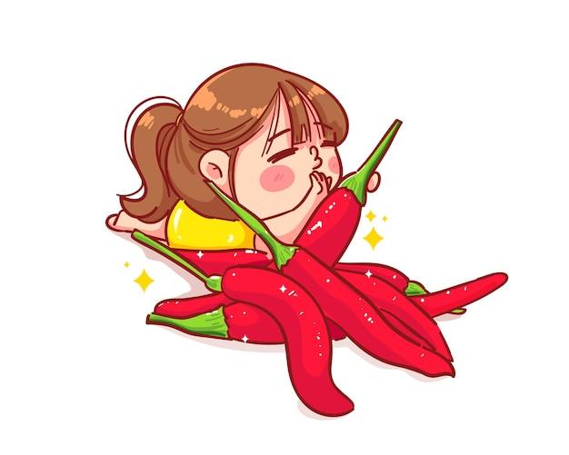 행복 한 귀여운 소녀와 매운 칠리 만화 예술 그림