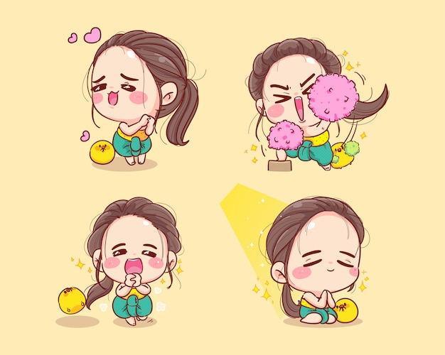 태국 전통 컬렉션 만화에서 행복 한 귀여운 소녀 캐릭터는 그림 마스코트를 설정합니다.