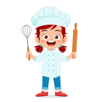 Happy cute girl in chef costume
