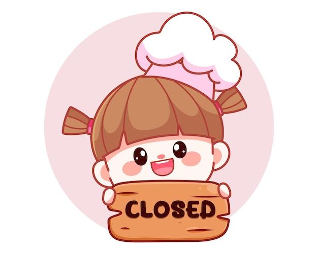 Happy cute girl chef holding closed sign banner logo cartoon art illustration
