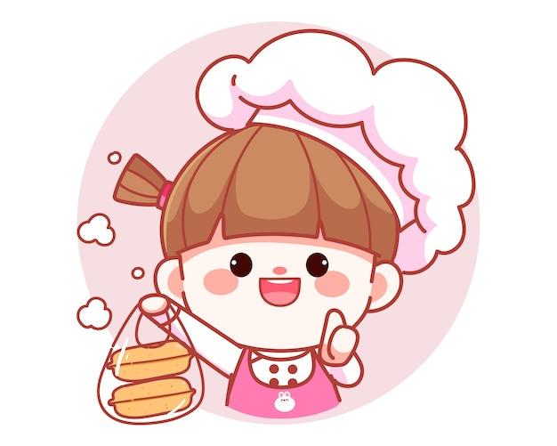 バッグバナーロゴ漫画アートイラストでフードボックスを保持している幸せなかわいい女の子のシェフ