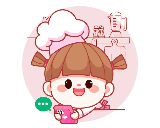 携帯電話を持って幸せなかわいい女の子のシェフと顧客と話すバナーロゴ漫画アートイラスト