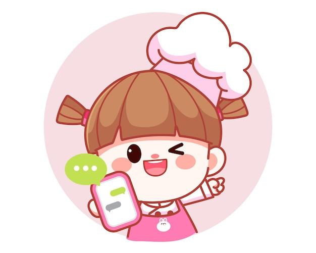 Happy cute girl chef holding mobile phone banner logo cartoon art illustration