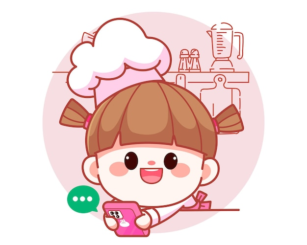 Happy cute girl chef holding mobile phone and talk to customers banner logo cartoon art illustration