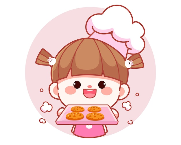 Happy cute girl chef holding tray with cookies banner logo cartoon art illustration