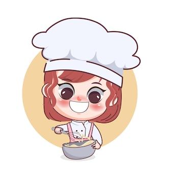 Счастливая милая девушка-шеф-повар делает пекарню торт мультфильм искусство иллюстрации