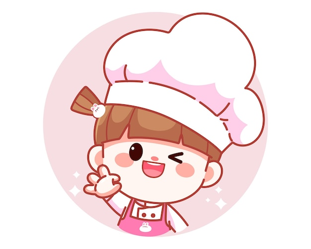 Happy cute girl chef showing ok sign with her hand banner logo cartoon art illustration