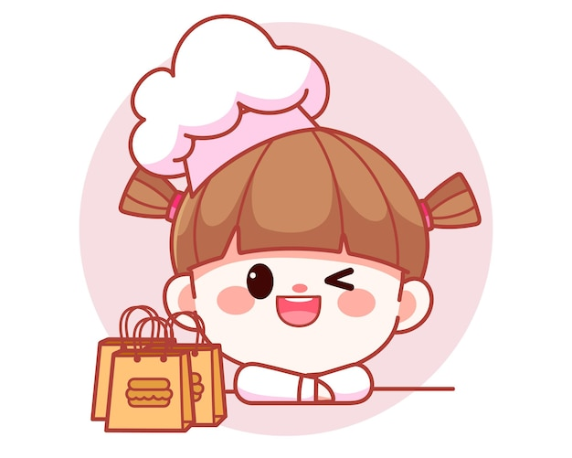 Happy cute girl chef with food bags banner logo cartoon art illustration