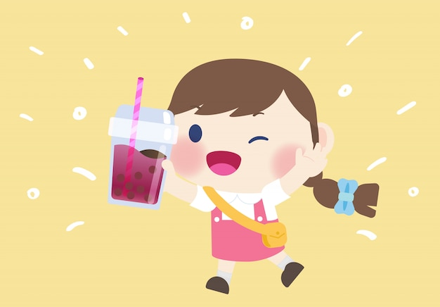 Happy cute girl drink boba tea beverage