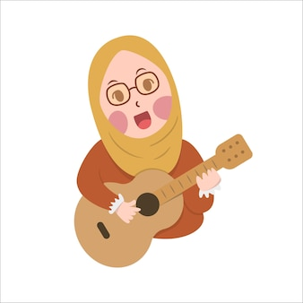 Happy cute girl hijab playi guitar and singing vector cartoon flat design illustration, little hijab cute practice guitar melody with smile and fun