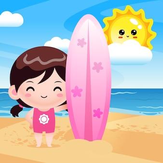 Happy cute girl holding surf board