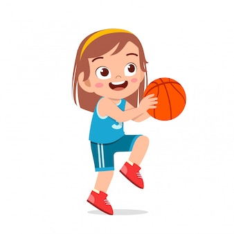 Happy cute girl play train basketball