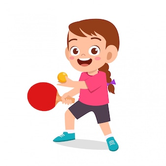 Happy cute girl play train pingpong