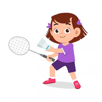 Happy cute girl playing badminton