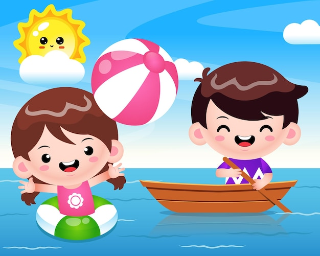 Happy cute girl playing beach ball and cute boy riding on boat at the sea
