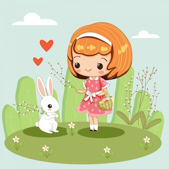 Happy cute and girl and rabbit