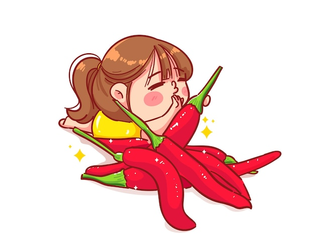 Happy cute girl and spicy chili cartoon art illustration
