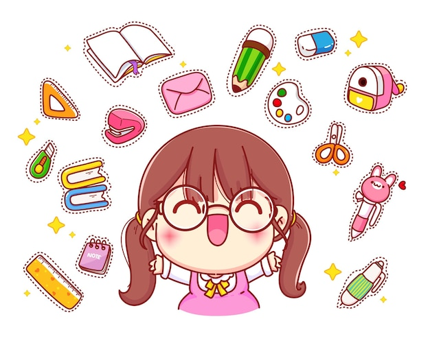 Happy cute girl with stationery logo cartoon character illustration