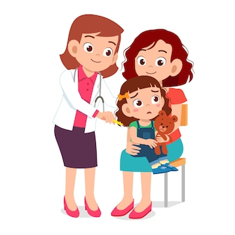 Happy cute go to doctor with mom
