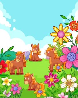 Happy cute horses with flowers playing in the garden