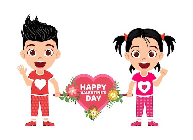 花と手を振ってハートの形を保持している幸せなかわいい子供の男の子と女の子のキャラクター