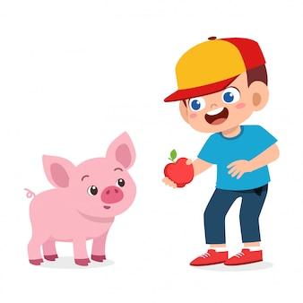 Happy cute kid boy feeding cute pig