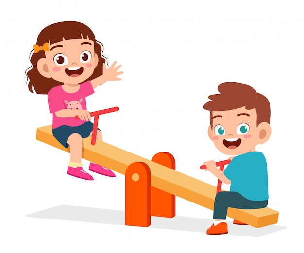 Happy cute kid boy and girl play seesaw together illustration