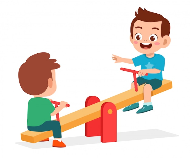Happy cute kid boy and girl play seesaw together