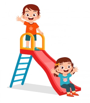 Happy cute kid boy and girl play slide together