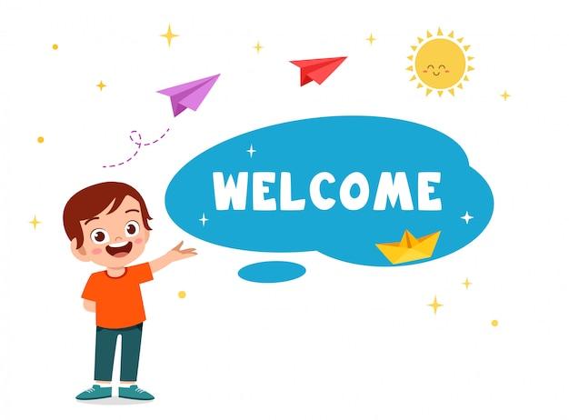 Happy cute kid boy greeting card welcome