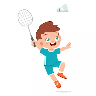 Happy cute kid boy play train badminton