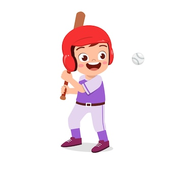 Happy cute kid boy play train baseball illustration
