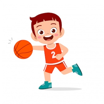 Happy cute kid boy play train basketball illustration