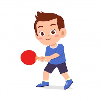 Happy cute kid boy play train pingpong illustration