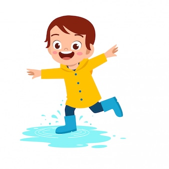 Happy cute kid boy play wear raincoat illustration