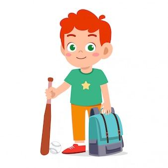 Happy cute kid boy ready to go to school