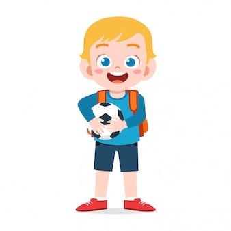 학교에 갈 준비가 행복 귀여운 꼬마 소년