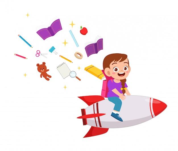 Happy cute kid boy ride rocket to success