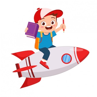 Happy cute kid boy ride rocket to success
