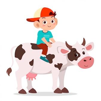 Happy cute kid boy riding cow