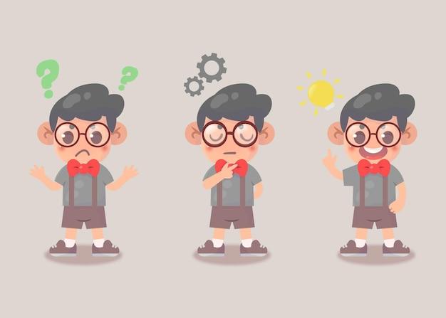 행복 한 귀여운 아이 소년 검색 아이디어 프로세스