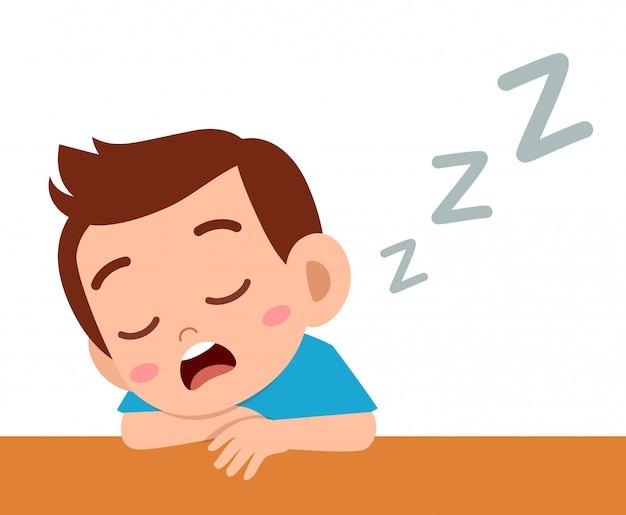 수업 시간에 행복 귀여운 아이 소년 수면