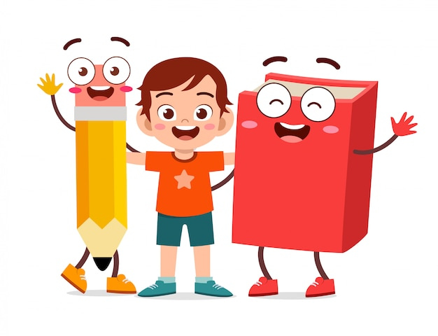 Happy cute kid boy stand with book and pencil