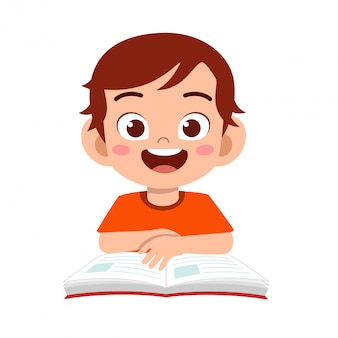 Happy cute kid boy study with smile