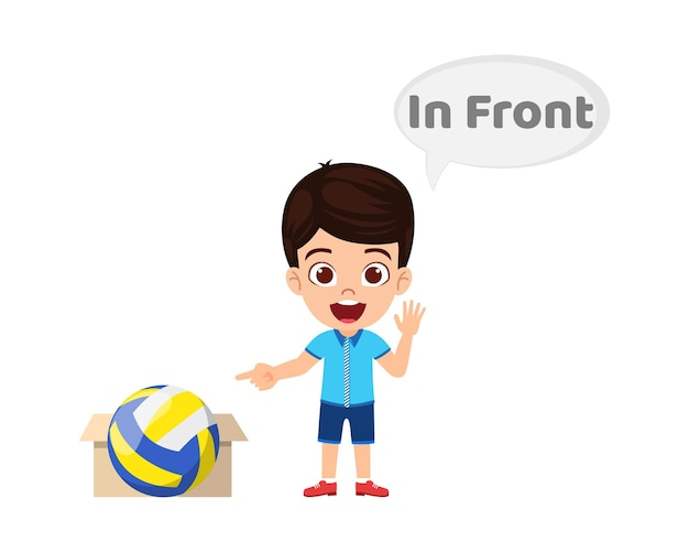 Happy cute kid boy with ball and carton, learning preposition concept, in front preposition and pointing isolated