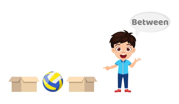 Happy cute kid boy with ball and carton, learning preposition concept, between preposition and pointing isolated