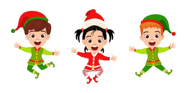 幸せなかわいい子供の男の子と女の子のジャンプと手を振って、白い背景で隔離の陽気なカリスマを祝う